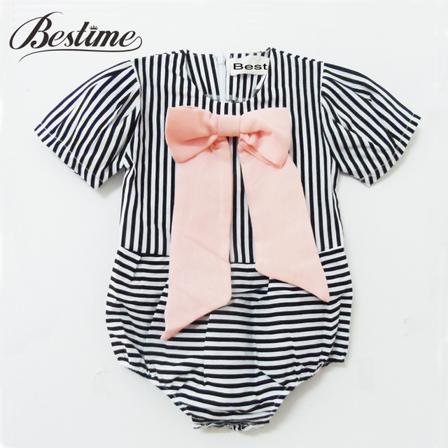 8cbf245e6ae95 Aliexpress.com : Buy 2017 Summer Baby Romper Striped Baby Girls Rompers  Cotton Pink Bow Baby Clothes Fashion New Kids Clothing from Reliable baby  girl ...