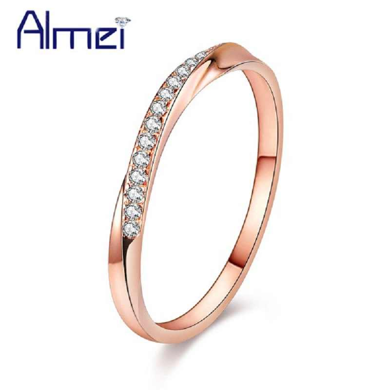 Almei 40%Off Simple Sterling Silver 925 Rings For Women Rose Gold Color Ring Cubic Zirconia Jewelry Dropshipping With Box LJ044