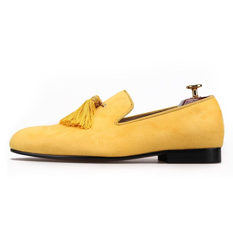 Piergitar nuevo estilo hecho a mano color amarillo hombres zapatos de terciopelo con borlas de moda fiesta y boda hombres zapatos de vestir mocasines masculinos - 2
