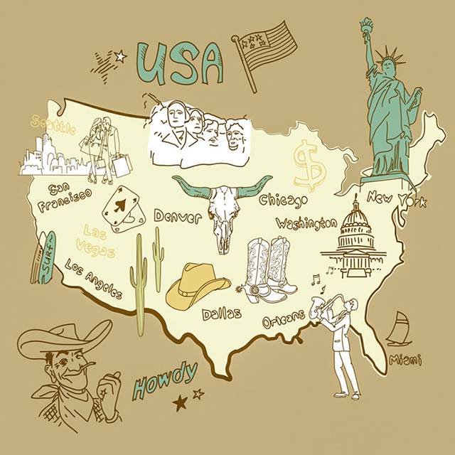 Funny Usa Map 5d Diy Diamond Painting Full Drill Round Mosaic Home