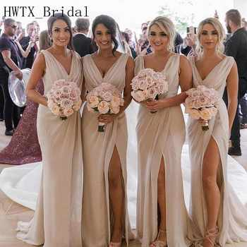 Champagne Chiffon Bridesmaid Dresses Cheap 2018 V Neck A Line Sleeveless Long Floor Length Plus Size Country Wedding Guest Dress - DISCOUNT ITEM  21% OFF All Category