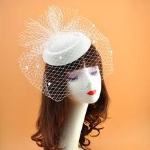 Женская Свадебная шляпка с вуалью для невесты и девушки