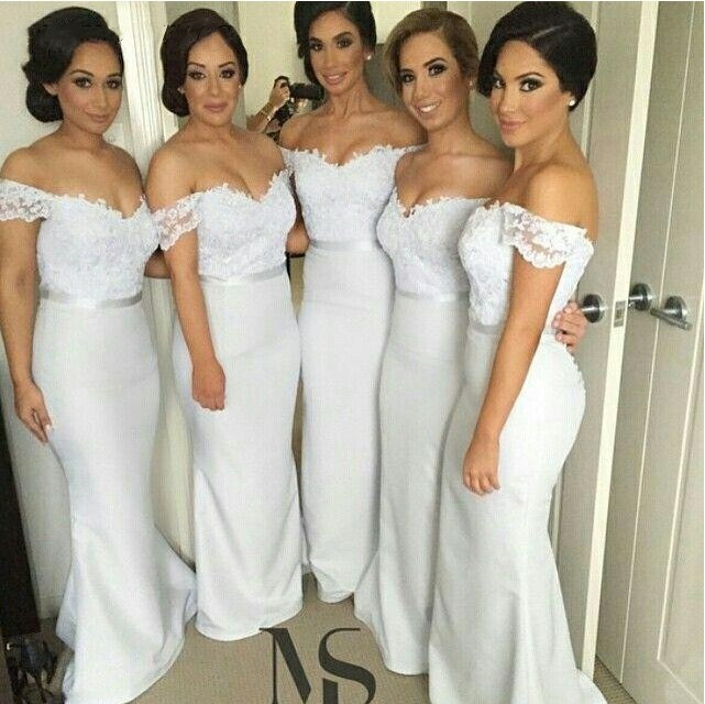 2019 White   Bridesmaid     Dresses   Long Satin V-Neck Appliques With Sleeves Mermaid Women Prom Gown For Wedding Party   Dress