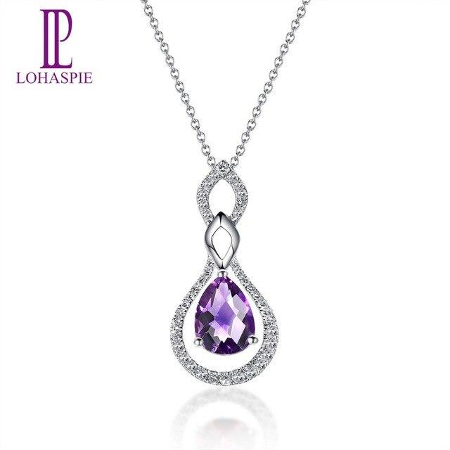 Lohaspie Diamond-Jewelry Natural Gemstone Uruguay Amethyst Solid 14K White Gold Pendant For Women Fine Stone Jewelry For Gift