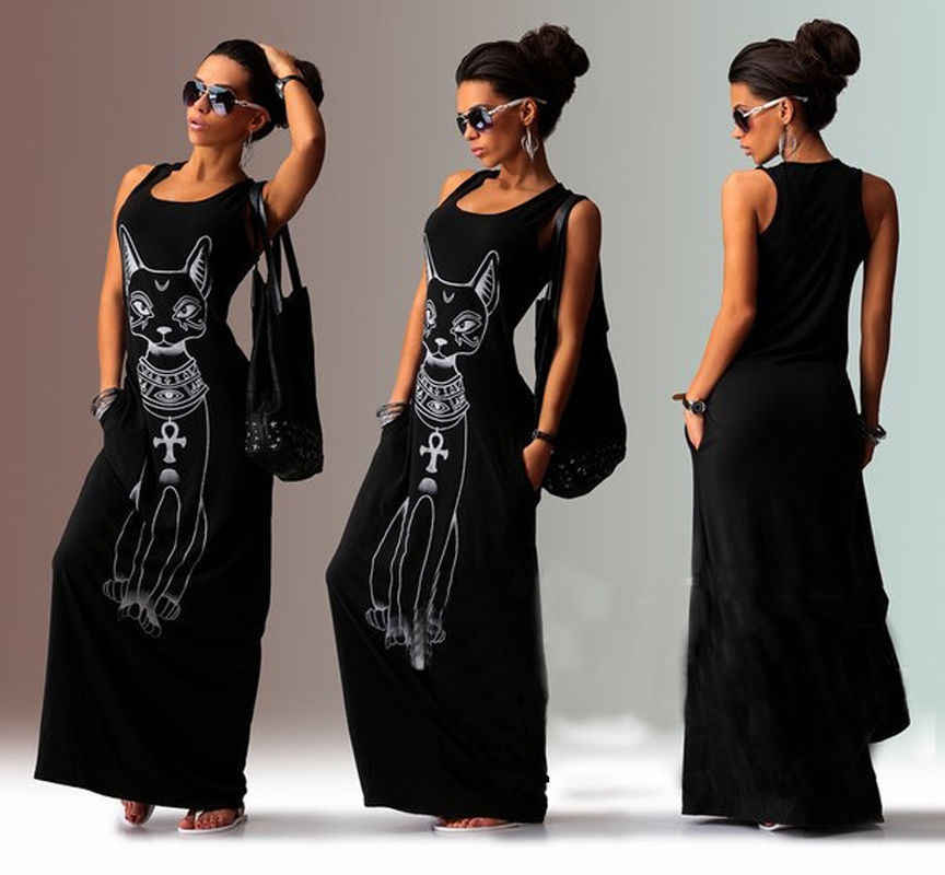 Fashion Casual Women Ladies Dresses Summer Sexy Tank Top Dress Long Maxi Dress Ball Gown Party Beach Sundress Gray Black