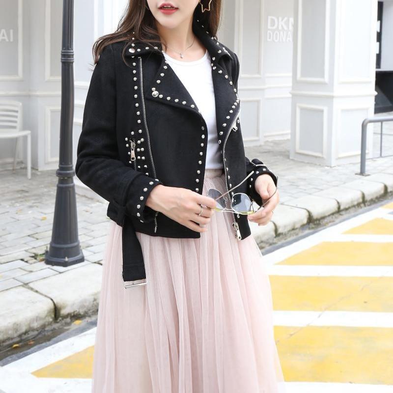 Manteau Streetwear Daim Noir Automne Bf Vintage Moto 2017 Femmes Mince Courtes Rivets apricot Vestes Printemps En H131 Nouveau Cuir Survêtement znZx1