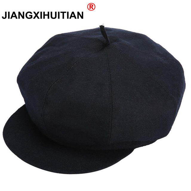 2017 new 3 style Fashion Octagonal Cap Newsboy Beret Hat Autumn And Winter  Hats For Men s black Color Plaid Casual Hat Beret Cap 0e4d726771e4