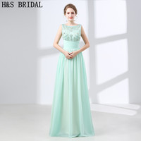 Mint Green Backless Evening Dresses 2018 With Bow Rhinestone Chiffon Long Evening Gowns Robe De Mariee