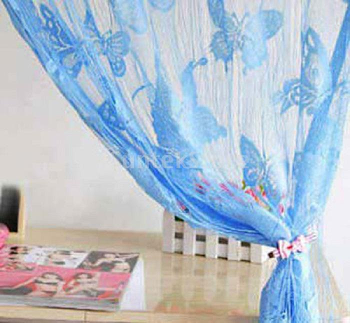 2Mx1M Butterfly String Voile Curtain Room Divider Window Tassel Panel Blue
