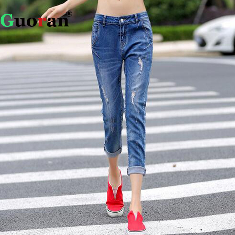 {Guoran} Ripped Denim Blue Jeans Pants For Women 2017 Ankle Length Harem Jeans Trousers Fashion Femme Pantalon Boy friend Loose