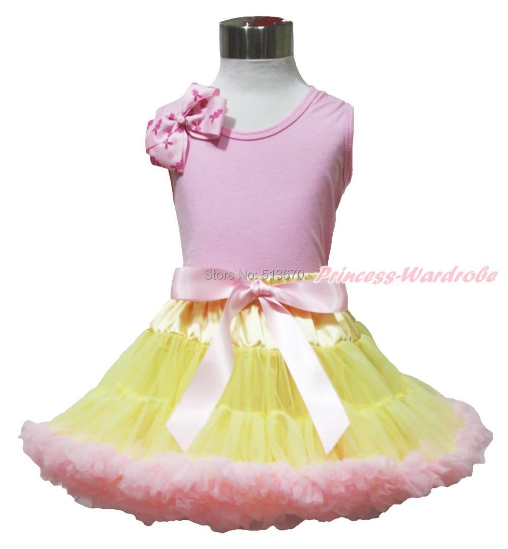 Easter Bunny Bow Pink Top shirt Pink Yellow Baby Girl Skirt Set 1-8Y MAPSA0498 halloween orange top ruffle bow pumpkin satin trim skirt girl outfit set nb 8y mapsa0866