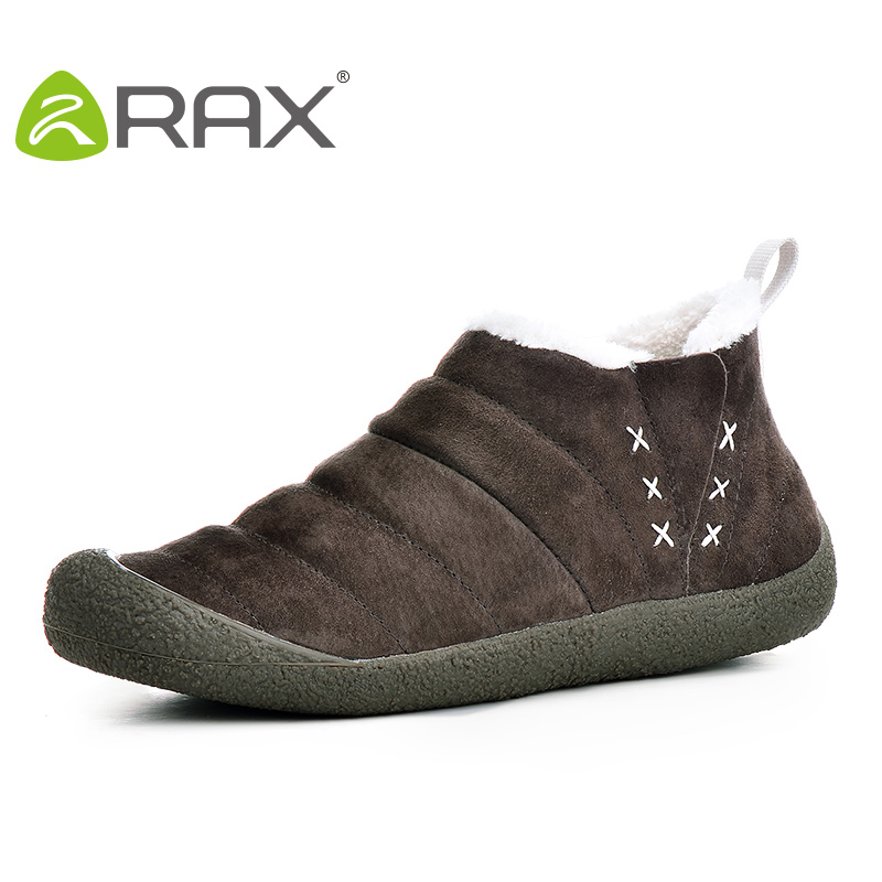2017 RAX Men Women Hiking Shoes Pig Leather Waterproof Snow Boots Warm Winter Outdoor Boots Breathable Walking Shoes
