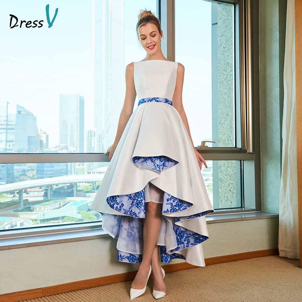 Dressv elegant asymmetry wedding dress scoop neck zipper up lace floor length bridal outdoor&church wedding dresses
