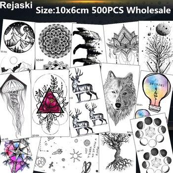 Rejaski 500 Pieces Wholesale Fake Temporary Tattoo Waterproof Triangle Wolf Mountain Tatoo Men Women DIY Body Art Tattoo Sticker