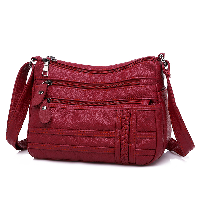 Image 4 - Annmouler Fashion Women Bag Pu Soft Leather Shoulder Bag Multi layer Crossbody Bag Quality Small Bag Brand Red Handbag Purse-in Shoulder Bags from Luggage & Bags