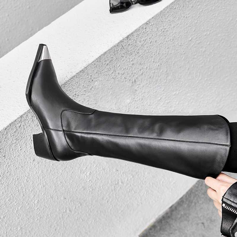 2019 Siyah diz yüksek Çizmeler Kadınlar Kış Ince fiber Sivri burun Kalın Yüksek topuk Metal Bot Fermuar Peluş Astar bayanlar Ayakkabı