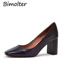 Bimolter Women Genuine Leather Pumps Handmade Quality Round Toe Shoes Elegant Office Party Casual High Heels Simple Style NB093 2018 retro style handmade shoes women chunky heel pumps round toe patchwork genuine leather high heels sapato feminino