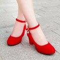 Mujer zapatos Rojos de la boda zapatos de novia rojo zapato de Tacón grueso Bombas sys-886