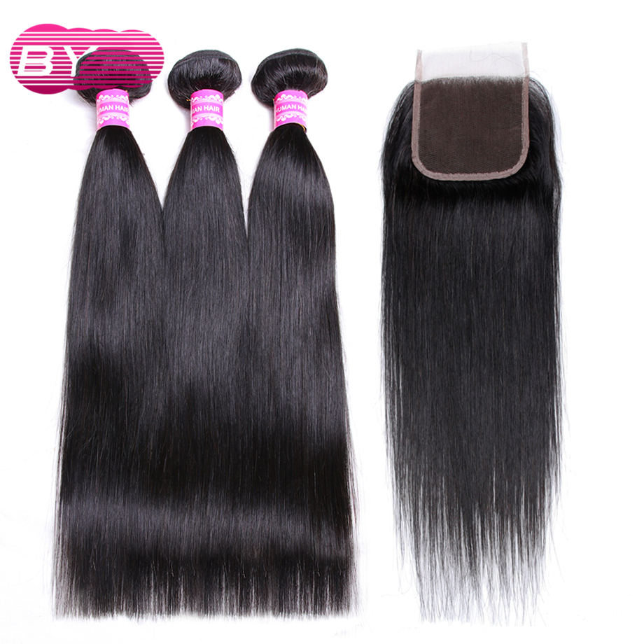 BY Brazilian Straight Human Hair 3 4 Bundles With 4x4 Lace Closure Non Remy Hair Bundles