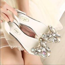 Spring 2016 new fashion rhinestone bow pointed flat shoes Women shoes transparent diamond Women flats 1098
