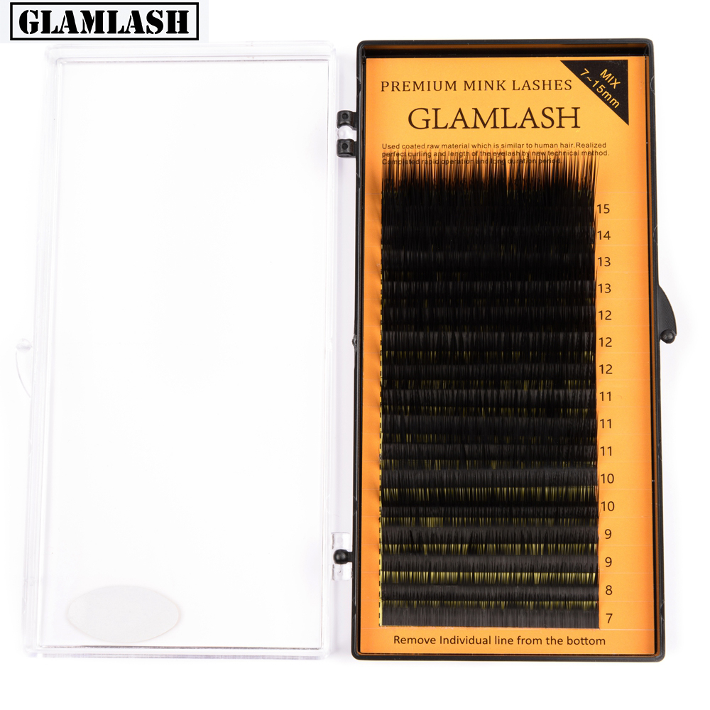 GLAMLASH L Curl 7~15mm MIX 16rows/case Mink Eyelash Extension,L Curl Individual Eyelashes,L Lashes,L False Eyelashes