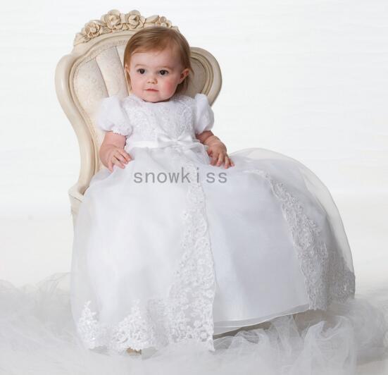 2016 Lace Mangas Curtas Vestido de Bebê Das Meninas Dos Meninos Roupa Infantil Heriloom Dedicação Batismo Vestido Longo batismo vestidos Com Capota