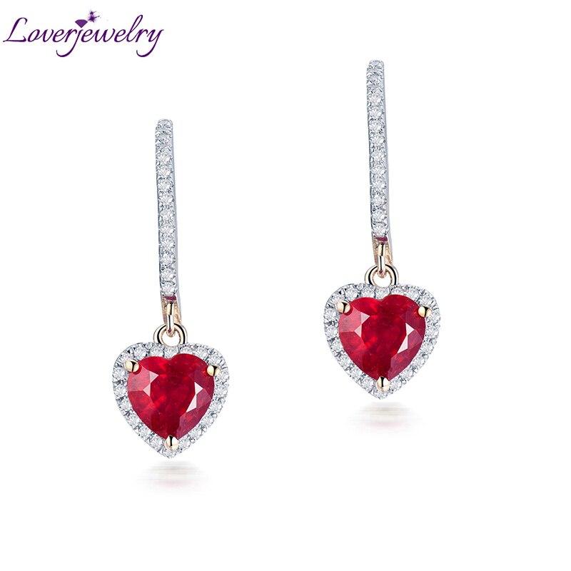 Loverbijoux femmes bijoux fins boucles d'oreilles Vintage coeur 6x6mm solide 14k or jaune diamant cadeau de mode rouge rubis boucles d'oreilles