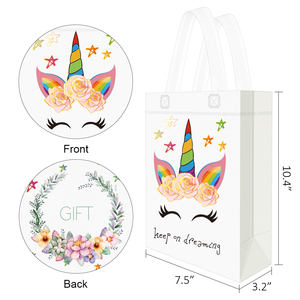 Image 2 - 20PCS Hot Sale Unicorn Shopping Bag Laminated Waterproof Non woven Gift Bag Kids Birthday Party Gift Tote Bag Unicorn Party Bags