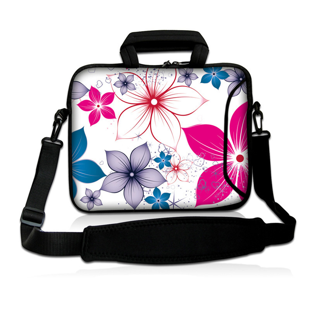 15 Fashion Computer Bags For Women Flowers 15 15.3 15.4 15.5 15.6 Inch Durable Notebook Laptop Messenger Bag + Shoulder Strap