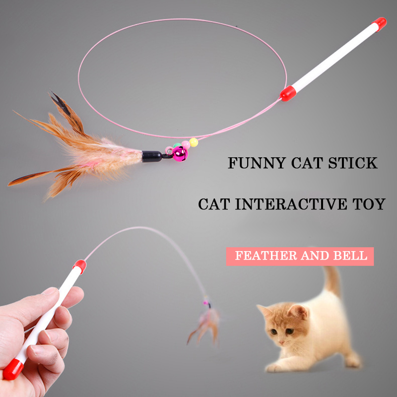 Pet Cat Feather Toys Cat Teaser Wand With Bell Beads Cat Catcher Stick Interactive Training Toys Kitten Exerciser Pet Supplies