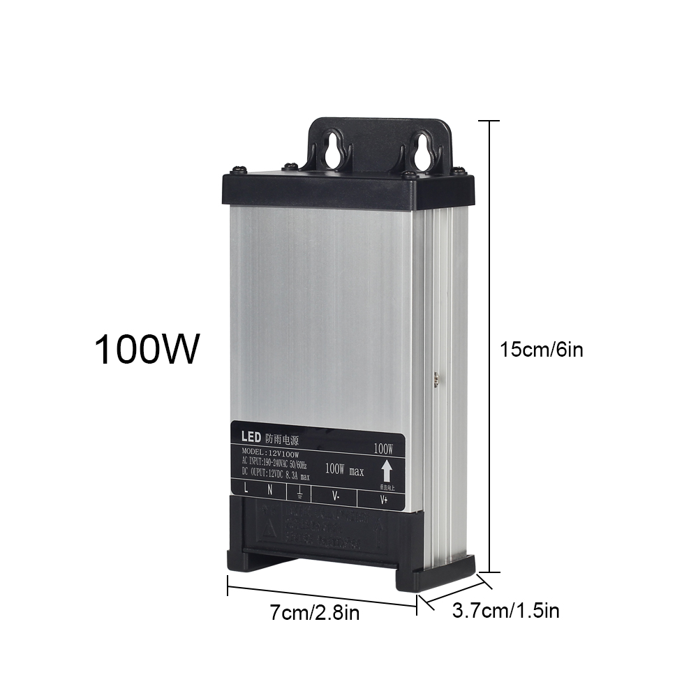 DC12V AC220V 60W 100W 200W 250W 400W LED Driver Lighting Transformer Rainproof Power Supply Outdoor Use