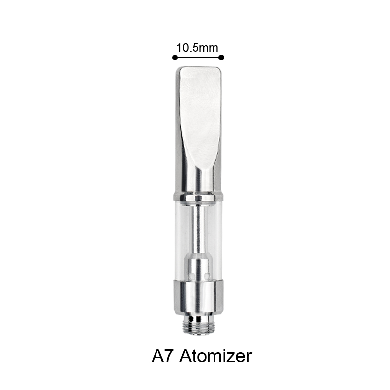 A7 vaporizer tank metal drip tip ceramic coil glass vaporizer cartridge 510 oil vape pen cartridge thick oil Cartomizer Vape
