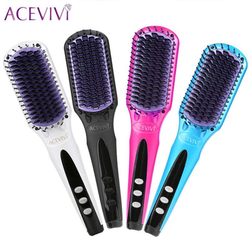 ACEVIVI Hair Brush EU/ US/ UK Plug Digital Electric Hair Straightener Brush Comb Straightening Irons Hair Brush Styling Tool good quality professional remington hair straightener tp 1042 keratin therapy digital straightener with smart sensor us plug