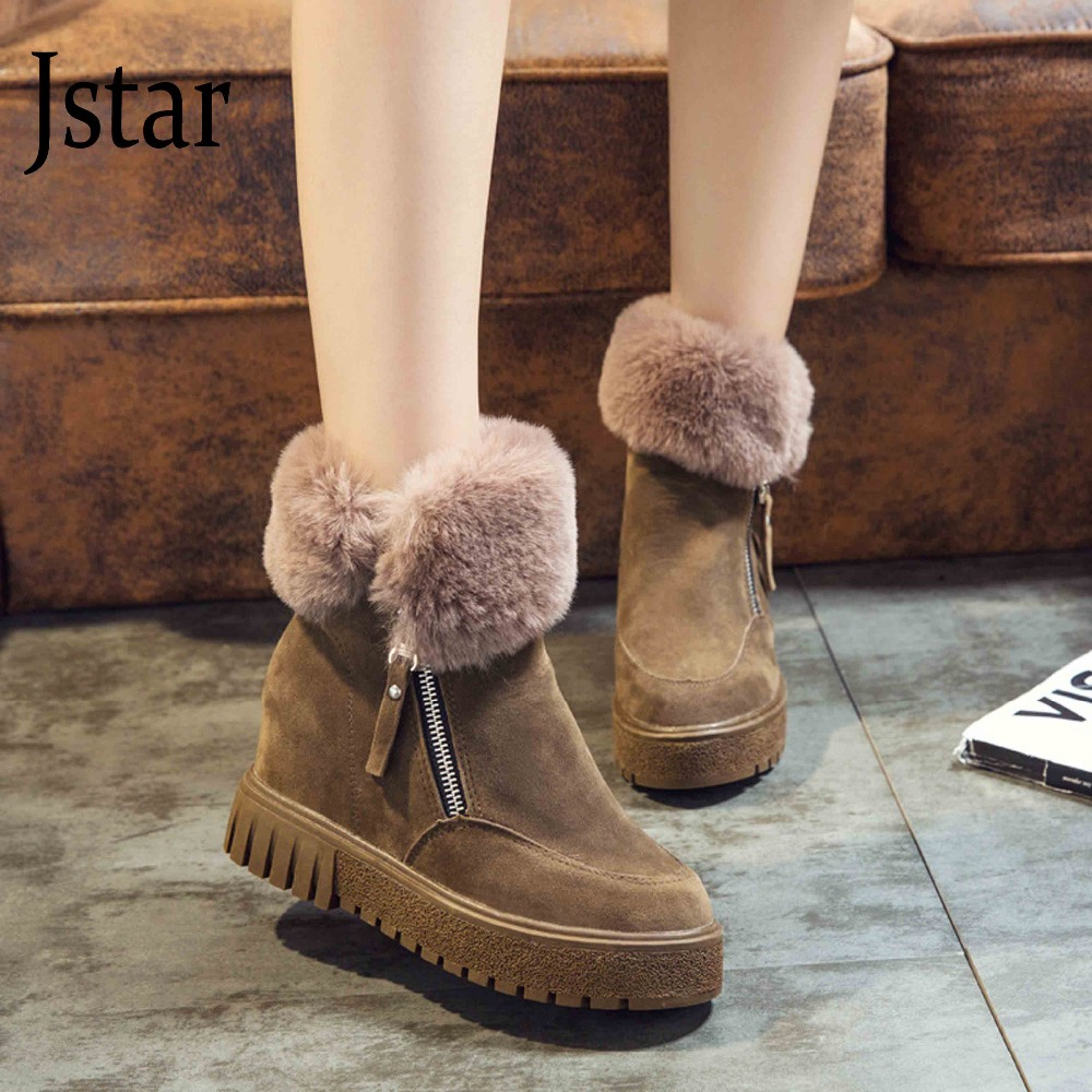 ФОТО New 2016 women snow boots thick plush winter warm shoes fashion slip on flat women ankle boots cotton-padded shoes warm shoes