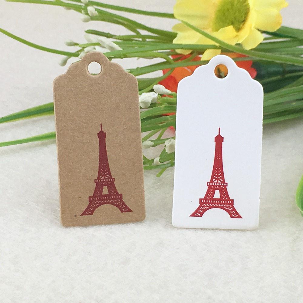 100pcs Kraft  Love Gifts Tag Wedding Paper Cards DIY Hang Tags/Price Tags/Christmas Gift Packing Labels Fashion Eiffel Tower Tag