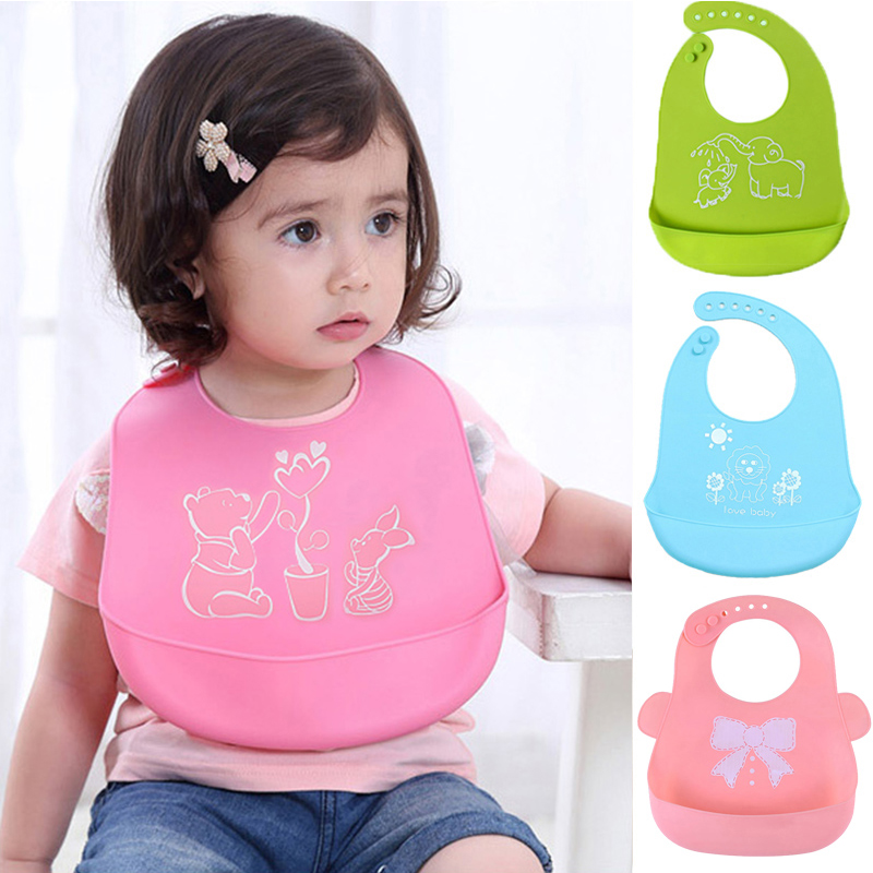 Cartoon Kids Silicone Baby Bibs Children's Adjustable Waterproof Bib Baby Feeding Stuff Burp Cloth Boy Girl Bibs Apron Baberos(China)