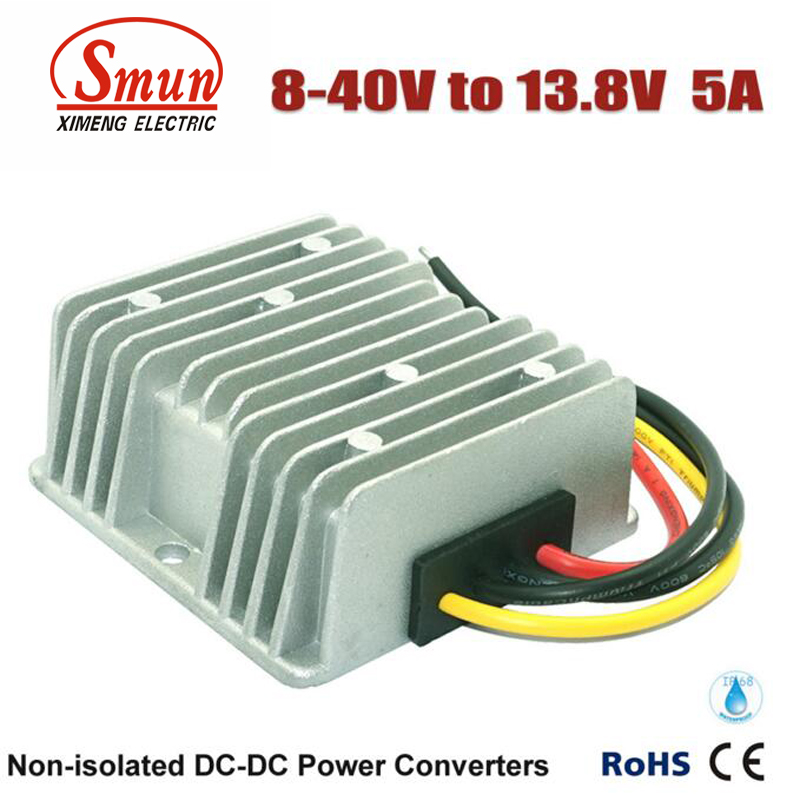 Non-isolated Waterproof 12V 24V 36V to 13.8V 5A 69W Boost Buck DC-DC Converter  dc dc converter 12v to 24v 5amax 120w for cars non isolated