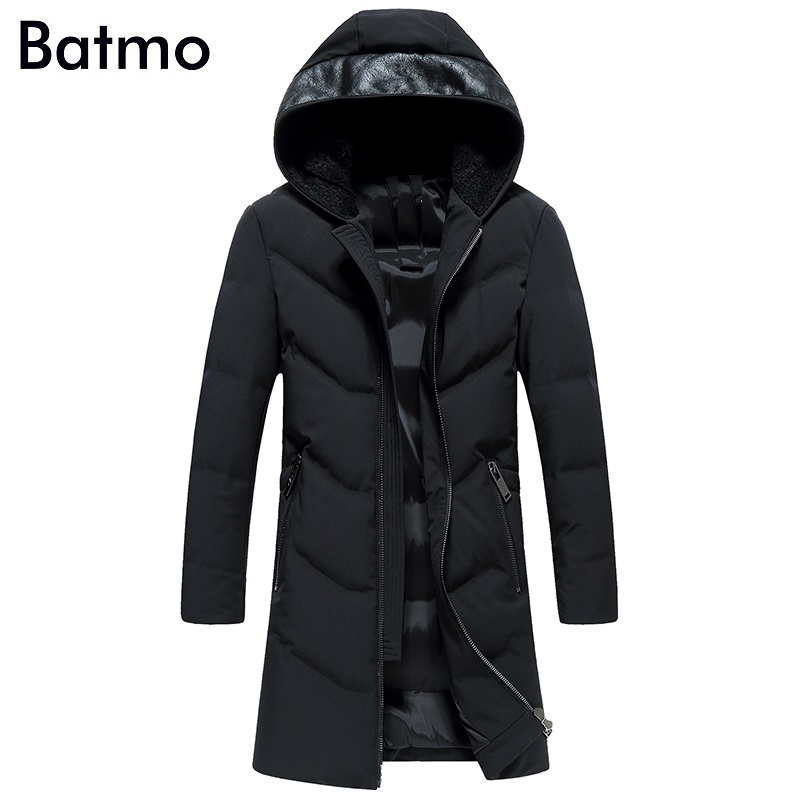 Batmo 2017 new arrival winter high quality keep warm 90% white duck down hooded long jakcet men,winter coat men ,1712