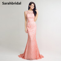 Pink Lace Mermaid Evening Dresses with Sheer Back Applique Jewel Neck Floor Length Party Prom Gowns vestido de festa LX241