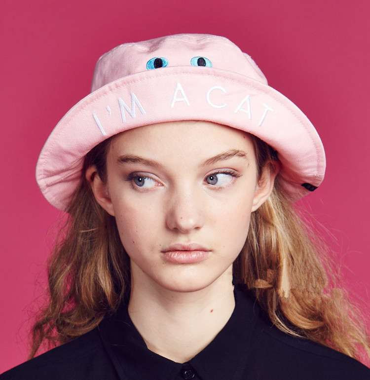 Womens Bucket Hats Cartoon Letters Embroidery I 'M A CAT Cute Pink Cotton High Quality Spring Summer Casual Fashion Harajuku