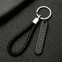 Anti-lost Car Keychain Phone Number Card Keyring Plate Key Ring Auto Vehicle Chain Accessories