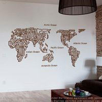 DCTAL World Map Wall Stickers Large New Design Maze Coffee Shop Pattern Creative Map Wall decals Vinyl Decals World Map Poster