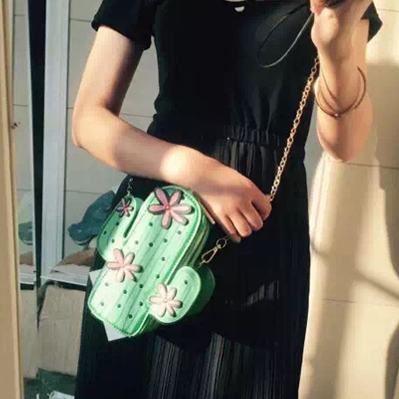 One shoulder female small Satchel Bag Pu fun cartoon styling package printing cactus chain bag green tide