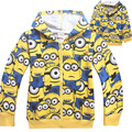 Retail children's cartoon outerwear baby boys Despicable Me 2 minions hoodies spring autumn coat kids long sleeve cotton hoodies