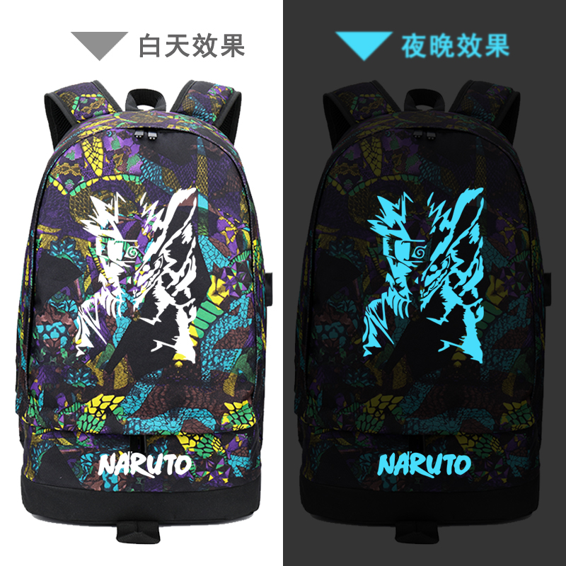 Street Style USB Charging Laptop Backpack Graffiti Naruto Printing Backpack Canvas School Bags Unisex Travel Backpack