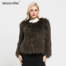 2019 New Arrival Winter Genuine Real Raccoon Fur Knitted Coat High Quality Jacket S7105