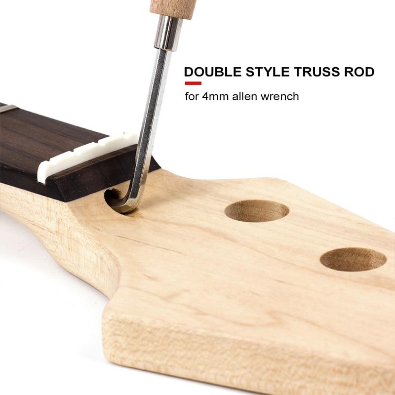 Basse Guitare D'érable Touche Palissandre 4 Chaîne 21 Frette Pour Basse Maple Guitare Cou Pièces De Rechange Blanc Dot Clear Satin - 3