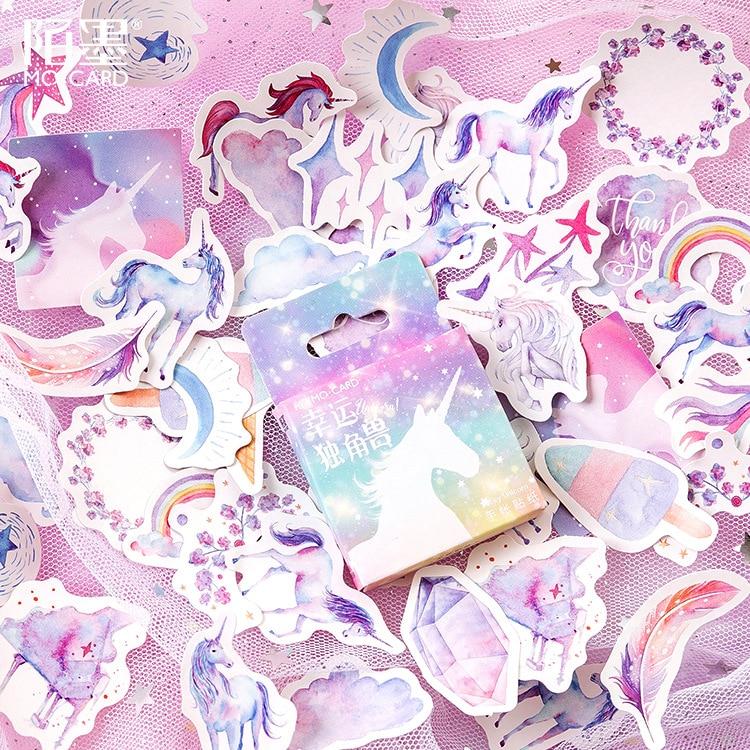 46 unids/pack precioso unicornio pegatina de papel para decoración DIY álbum de recortes diario etiqueta pegatina Linda papelería