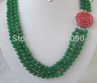 45cf4af94472 ٩( ‿ )۶000524 hermosa 22 -23-24 8mm piedra natural verde   collar ...