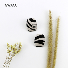 GWACC Zebra Stripes Earrings Black And White Stud Earrings For Women Curved Design Big Earrings Personality Jewelry Gift boho цена